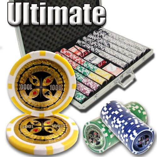 Chips - 1000 Ultimate 14 Gram Poker Chips Set With Aluminum Case