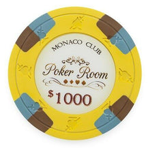 Chips - $1000 Yellow Monaco Club 13.5 Gram - 100 Poker Chips