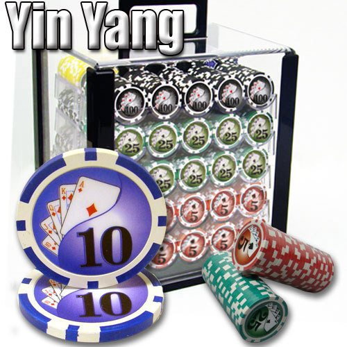 Chips - 1000 Yin Yang 13.5 Gram Poker Chips Set With Acrylic Carrier Case