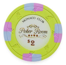 Chips - $2 Light Green Monaco Club 13.5 Gram - 100 Poker Chips