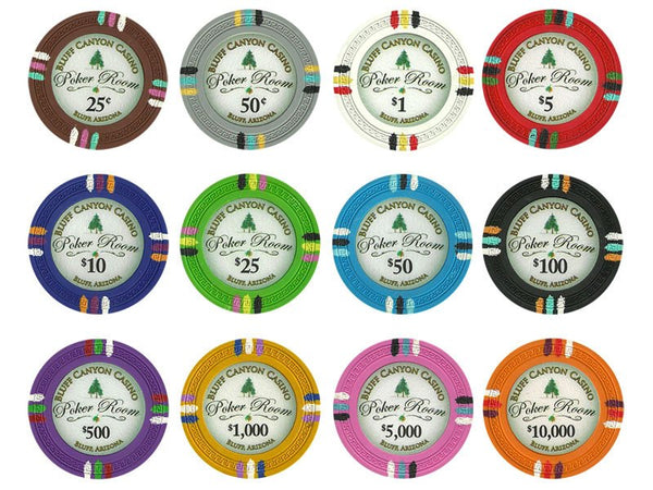 Chips - 200 Claysmith Bluff Canyon 13.5 Gram Poker Chips Bulk