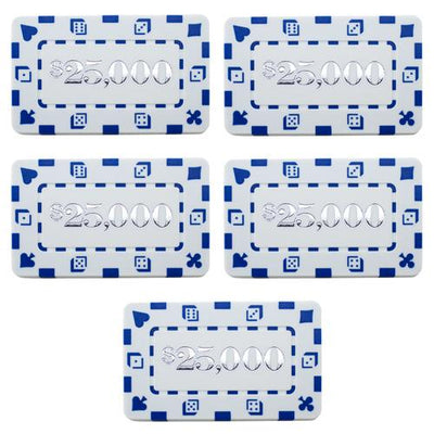 Chips - $25,000 White Square Chips Rectangular Poker Plaques