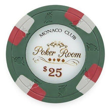 Chips - $25 Green Monaco Club 13.5 Gram - 100 Poker Chips