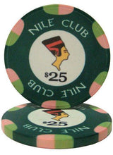 Chips - $25 Green Nile Club 10 Gram Ceramic - 100 Poker Chips