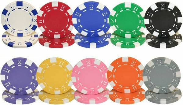 Chips - 25 Striped Dice 11.5 Gram Poker Chips (1 Roll)