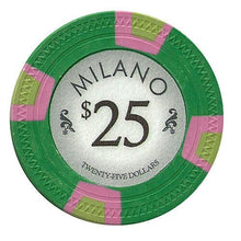 Chips - $25 Twenty Five Dollar Milano 10 Gram Pure Clay - 100 Poker Chips