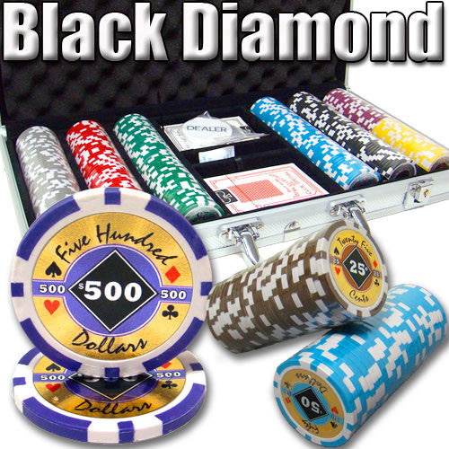 300 Black Diamond 14 Gram Poker Chips Set with Aluminum Case - The Poker Store .Com