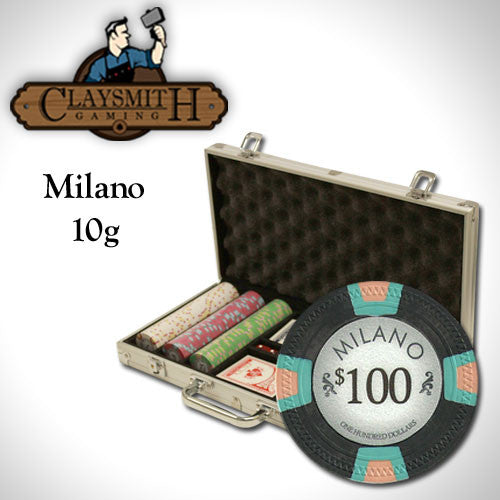 300 Milano 10 Gram Pure Clay Poker Chips Set with Aluminum Case - The Poker Store .Com