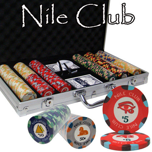 300 Nile Club 10 Gram Ceramic Poker Chips with Aluminum Case - The Poker Store .Com