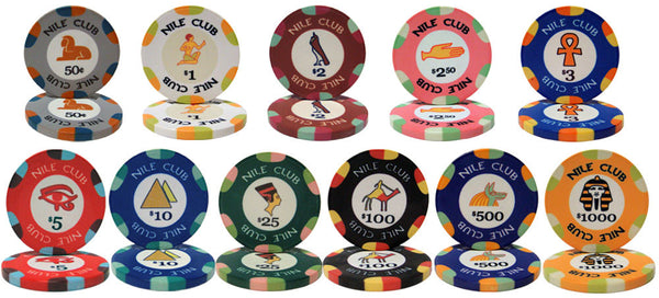 Chips - 300 Nile Club 10 Gram Ceramic Poker Chips W Case