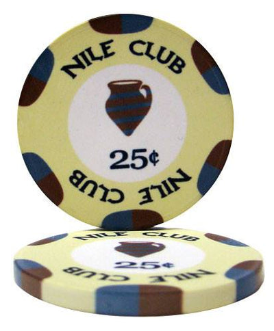 Chips - 300 Nile Club 10 Gram Ceramic Poker Chips With Aluminum Case