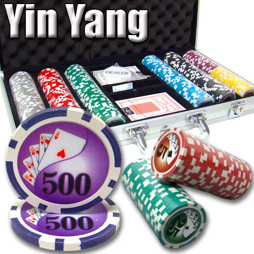 300 Yin Yang 13.5 Gram Poker Chips Set with Aluminum Case - The Poker Store .Com