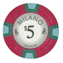 Chips - $5 Five Dollar Milano 10 Gram Pure Clay - 100 Poker Chips