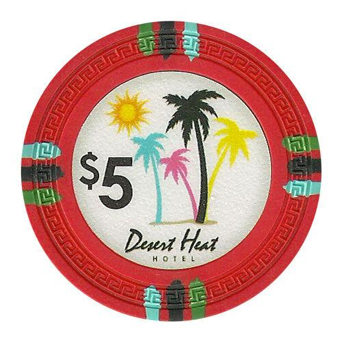 Chips - $5 Red Claysmith Desert Heat 13.5 Gram - 100 Poker Chips