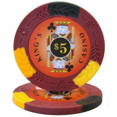 Chips - $5 Red Kings Casino 14 Gram Pro Clay - 100 Poker Chips