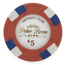 Chips - $5 Red Monaco Club 13.5 Gram - 100 Poker Chips