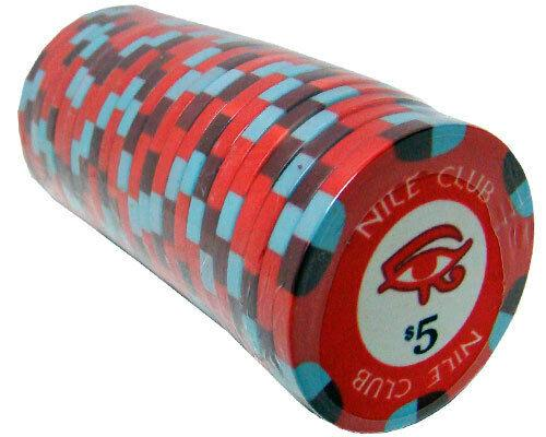 Chips - $5 Red Nile Club 10 Gram Ceramic - 100 Poker Chips