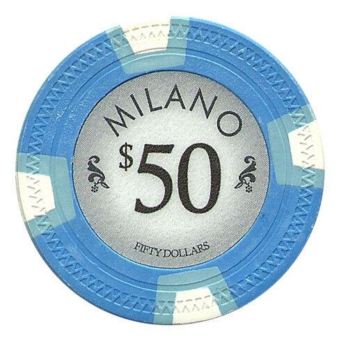 Chips - $50 Fifty Dollar Milano 10 Gram Pure Clay - 100 Poker Chips