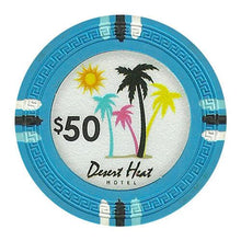 Chips - $50 Light Blue Claysmith Desert Heat 13.5 Gram - 100 Poker Chips