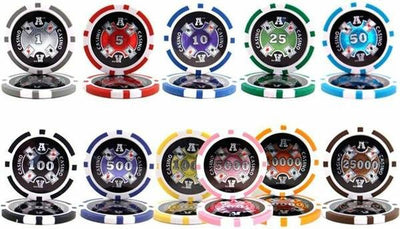 Chips - 500 Ace Casino 14 Gram Poker Chips Set Aluminum Case Pre Packaged