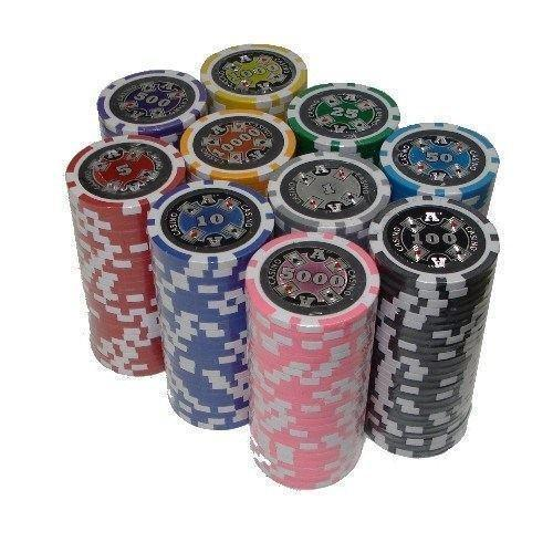 Chips - 500 Ace Casino 14 Gram Poker Chips Set With Black Aluminum Case