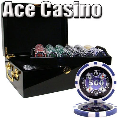 Chips - 500 Ace Casino 14 Gram Poker Set With Black Mahogany Case