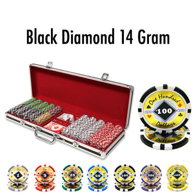 500 Black Diamond 14 Gram Poker Chips Set with Black Aluminum Case - The Poker Store .Com