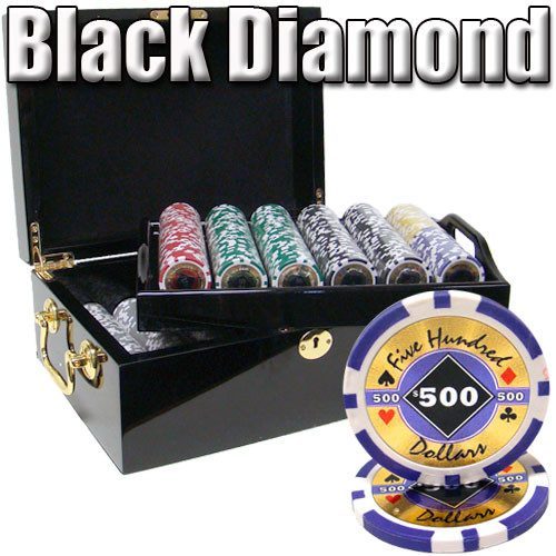 Chips - 500 Black Diamond 14 Gram Poker Chips Set With Black Mahogany Case