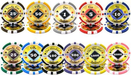 Chips - 500 Black Diamond 14 Gram Poker Chips Set With Walnut Wood Case