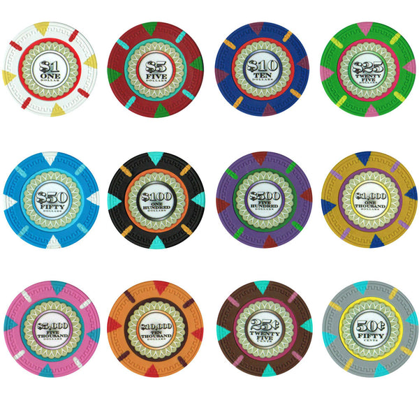 Chips - 500 Claysmith The Mint 13.5 Gram Poker Chips Set W Case