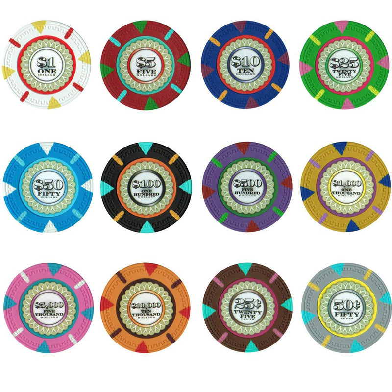 Chips - 500 Claysmith The Mint 13.5 Gram Poker Chips Set With Hi Gloss Humidor Case