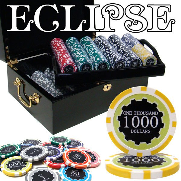 Chips - 500 Eclipse 14 Gram Poker Chips Set With Black Mahogany Case