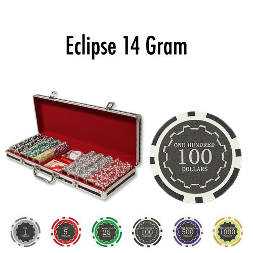 500 Eclipse 14 Gram Poker Chips Set With Black Aluminum Case - The Poker Store .Com