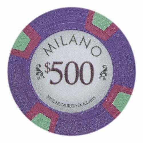 Chips - $500 Five Hundred Dollars Milano 10 Gram Pure Clay - 100 Poker Chips