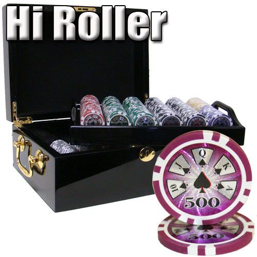 Chips - 500 High Roller 14 Gram Poker Chips Set With Black Mahogany Case