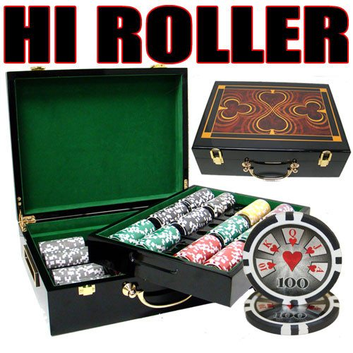 Chips - 500 High Roller 14 Gram Poker Chips Set With Hi Gloss Humidor Case