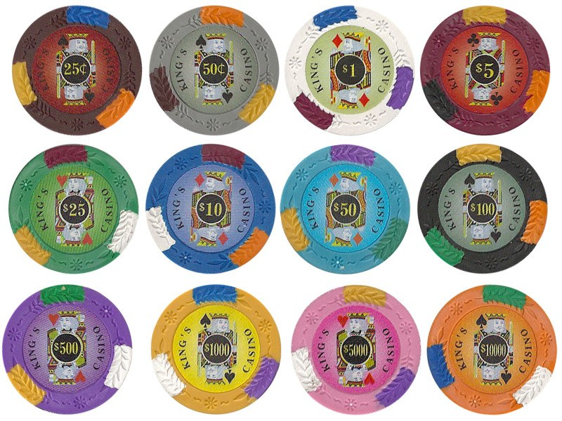 Chips - 500 King's Casino 14 Gram Pro Clay Poker Chips Set With Hi Gloss Humidor Case