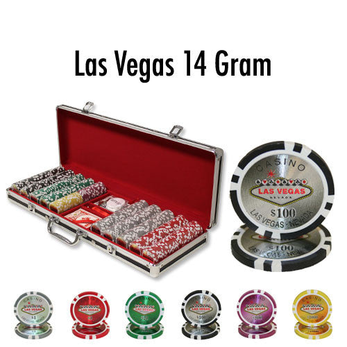500 Las Vegas 14 Gram Poker Chips Set with Aluminum Case Case - The Poker Store .Com