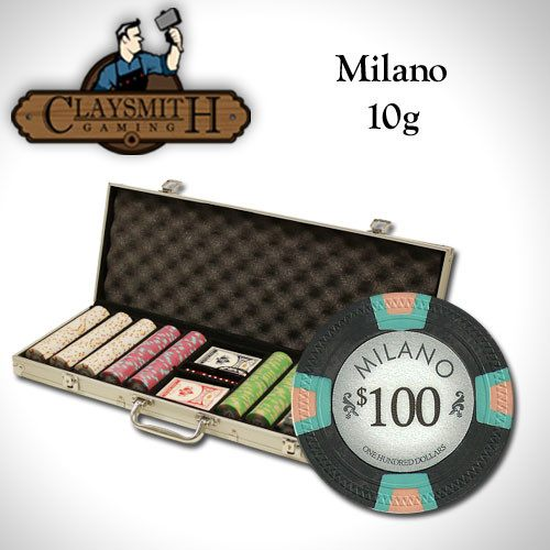 Chips - 500 Milano 10 Gram Pure Clay Poker Chips Aluminum Case Set