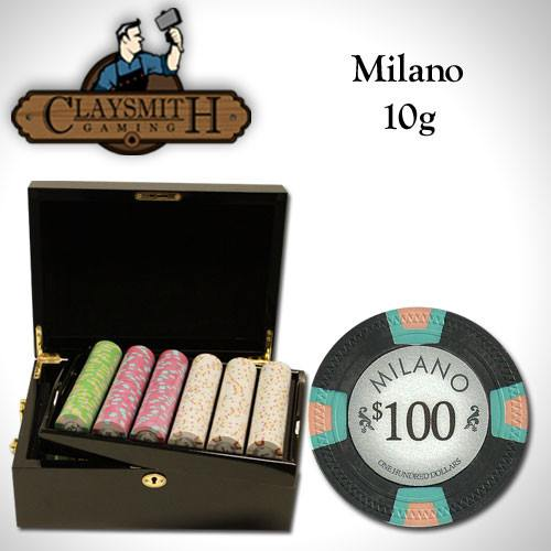 Chips - 500 Milano 10 Gram Pure Clay Poker Chips Set With Black Mahogany Case