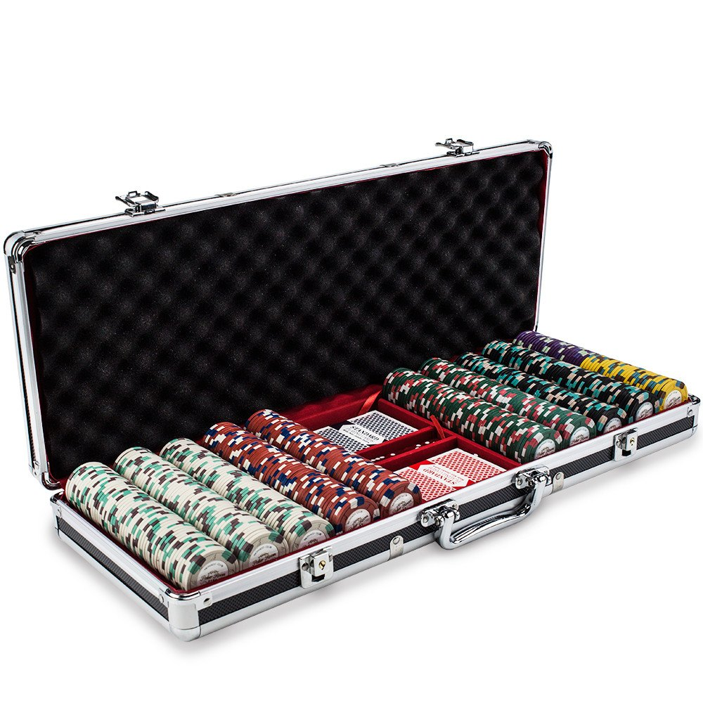 Chips - 500 Monaco Club 13.5 Gram Poker Chips Set With Black Aluminum Case