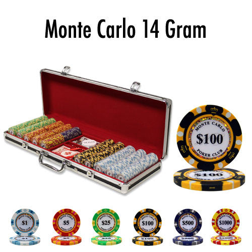 500 Monte Carlo 14 Gram Poker Chips Set with Black Aluminum Case - The Poker Store .Com