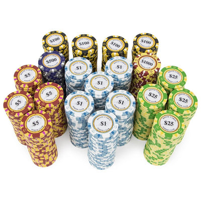 Chips - 500 Monte Carlo 14 Gram Poker Chips Set With Black Mahogany Case