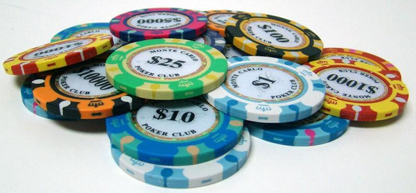 Chips - 500 Monte Carlo 14 Gram Poker Chips Set With Hi Gloss Humidor Case