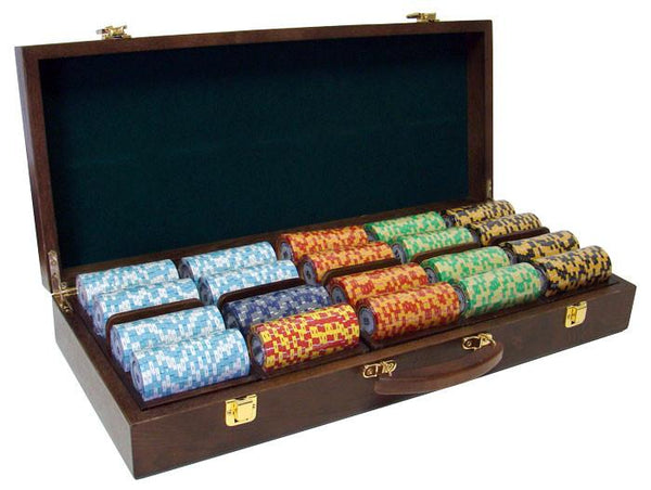 Chips - 500 Monte Carlo 14 Gram Poker Chips Set With Walnut Wood Case