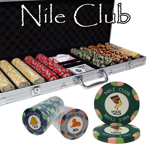 Chips - 500 Nile Club 10 Gram Ceramic Poker Chips With Aluminum Case