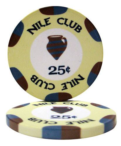 Chips - 500 Nile Club 10 Gram Ceramic Poker Chips With Black Aluminum Case