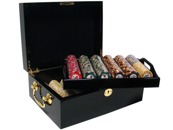 Chips - 500 Nile Club 10 Gram Ceramic Poker Chips With Black Mahogany Case