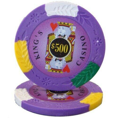 Chips - $500 Purple Kings Casino 14 Gram Pro Clay - 100 Poker Chips