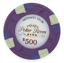 Chips - $500 Purple Monaco Club 13.5 Gram - 100 Poker Chips